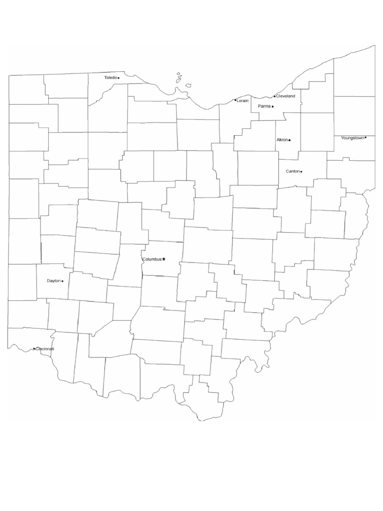 Ohio Cities Map with City Names