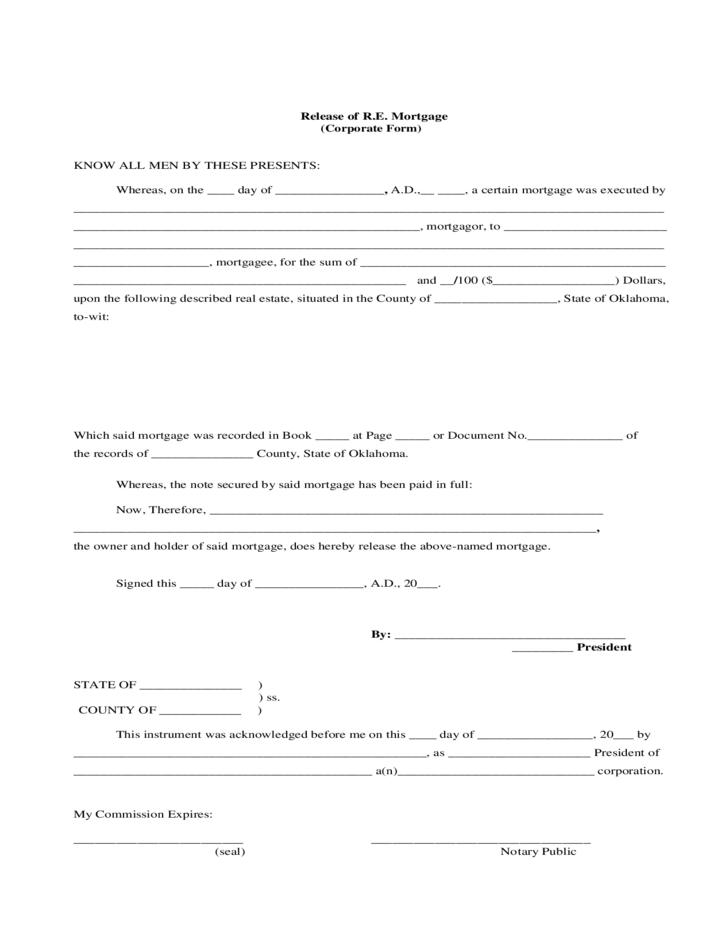 Release of RE Mortgage Oklahoma Free Download – Release of Mortgage Form