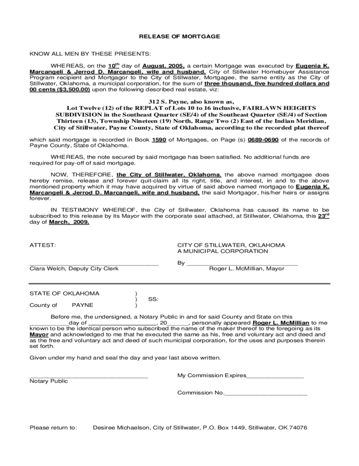 Release of Mortgage Oklahoma Free Download – Release of Mortgage Form