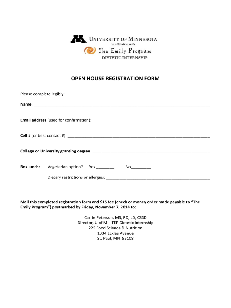 Open House Registration Form 2 Free Templates In Pdf