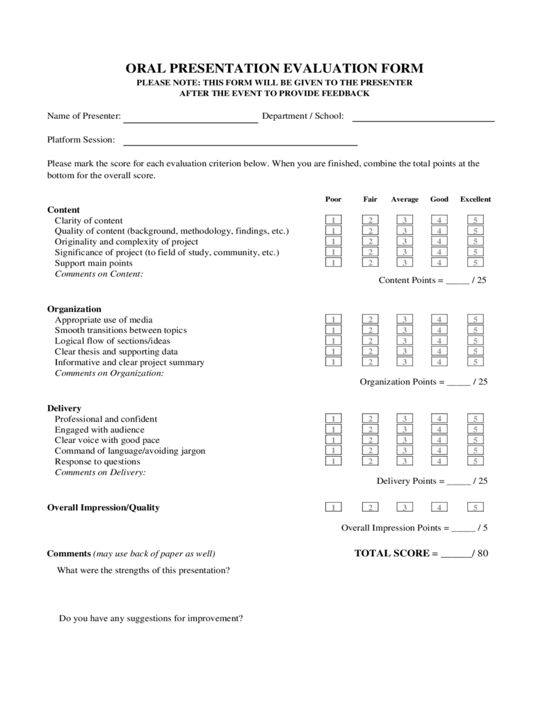 oral presentation evaluation form