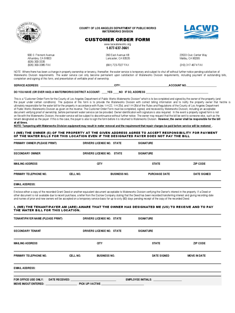 Customer Order Form   Department Of Public Works Free Download  Purchase Order Format Free Download
