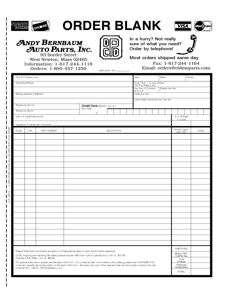 Superior Order Form   Andy Bernbaum Auto Parts Free Download