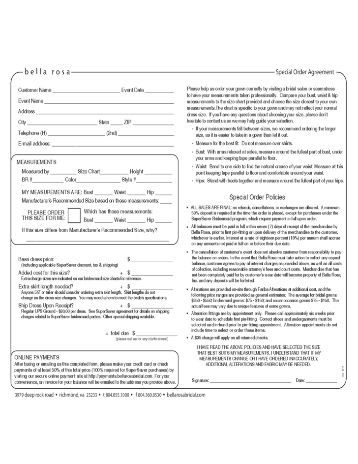special order agreement form free download