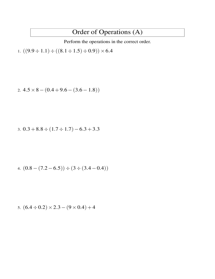 Order of operations homework worksheets – Order of Operations Addition and Subtraction Worksheets