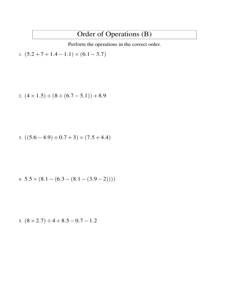 math worksheet : 5 step positive decimals order of operations all free download : Order Of Operations With Decimals Worksheet