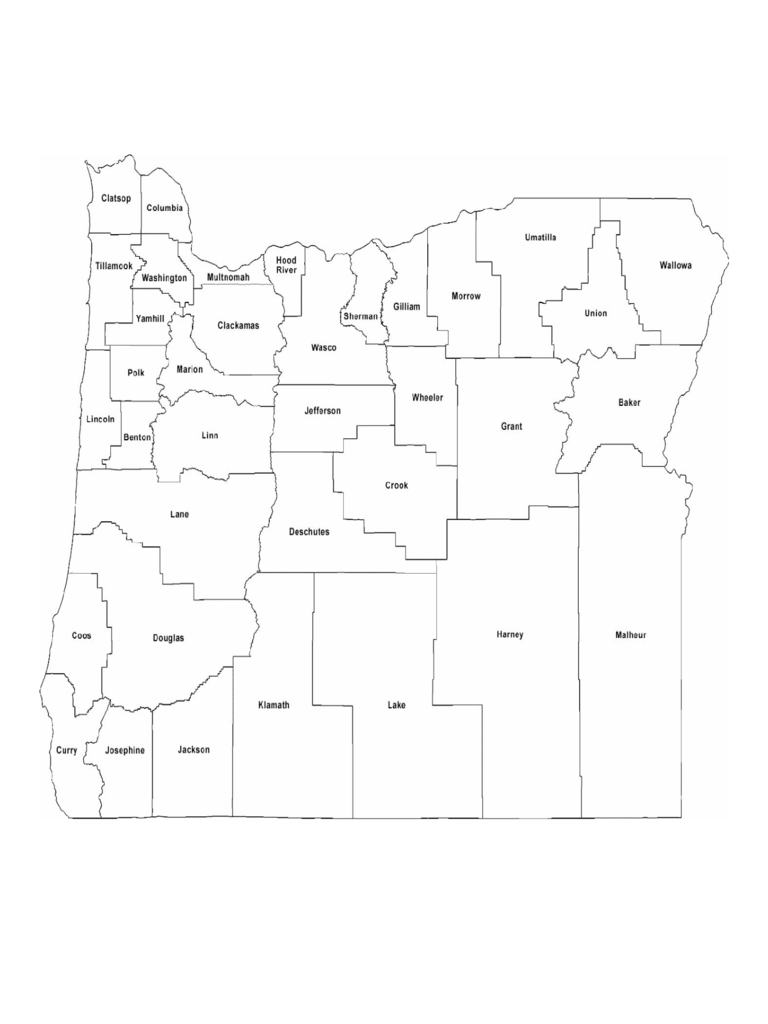 Blank Oregon County Map Labeled