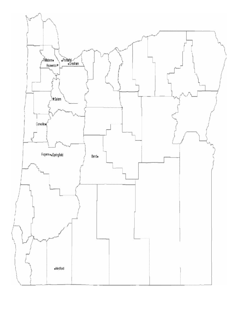 Map of Oregon Cities with City Names