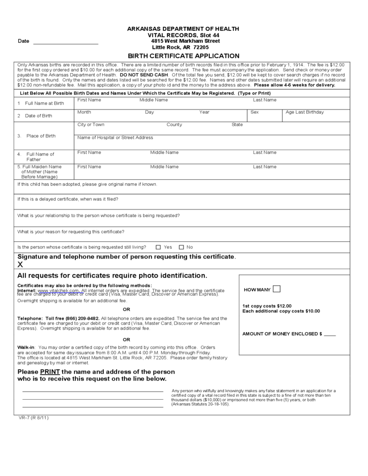 Birth Certificate Application - Arkansas Free Download