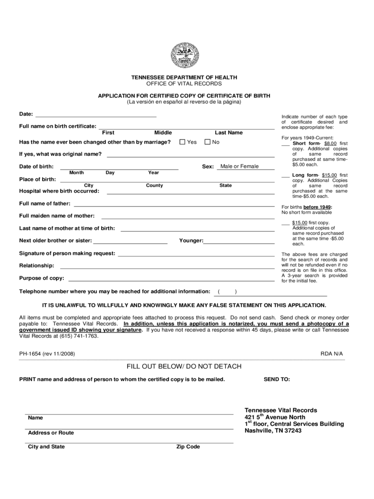 Application for Certified Copy of Certificate of Birth - Tennessee