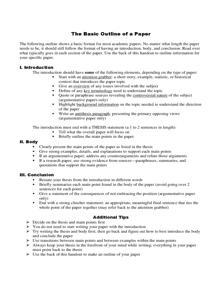 resume outline example
