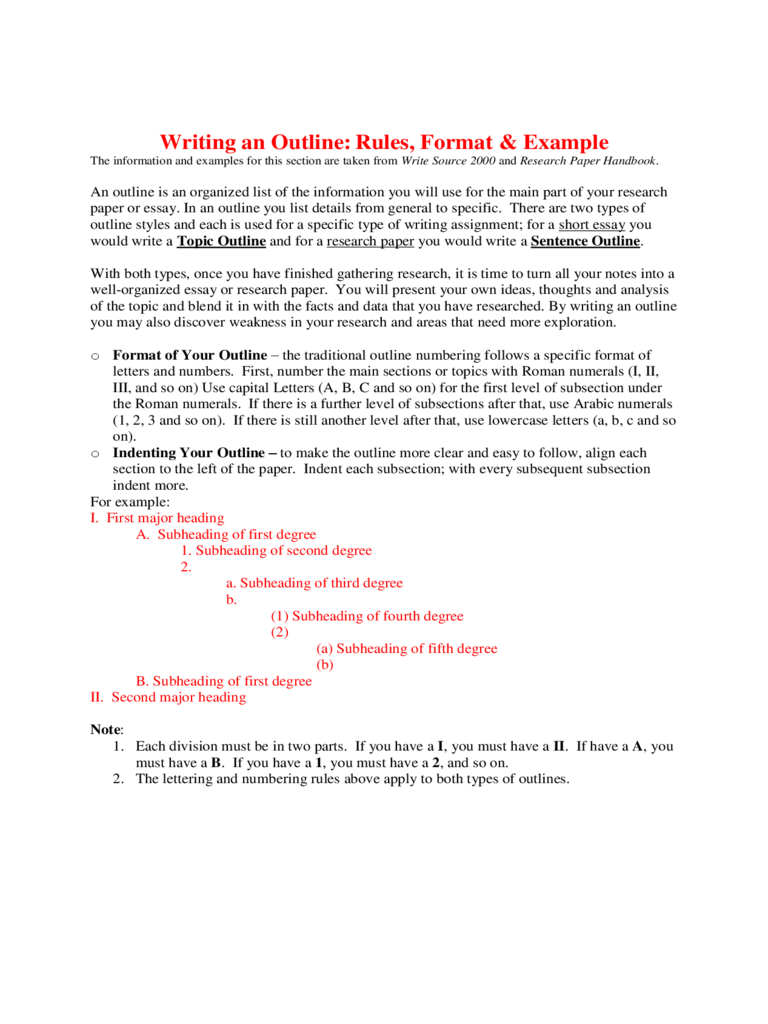 An Outline Example Free Download