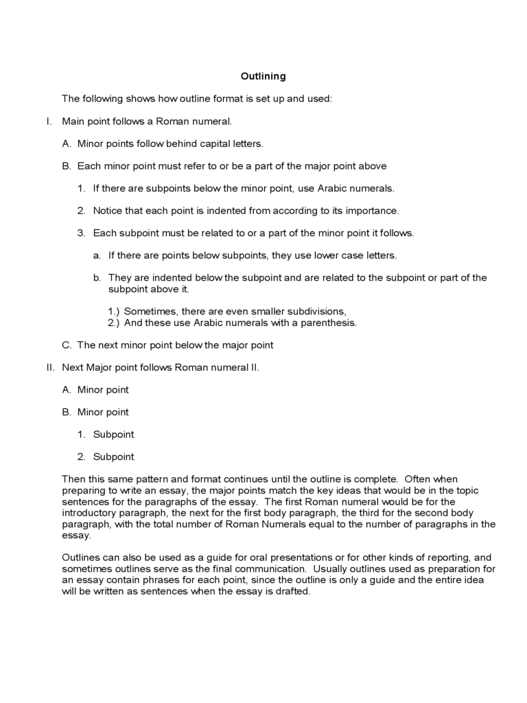 Sample Outline Example