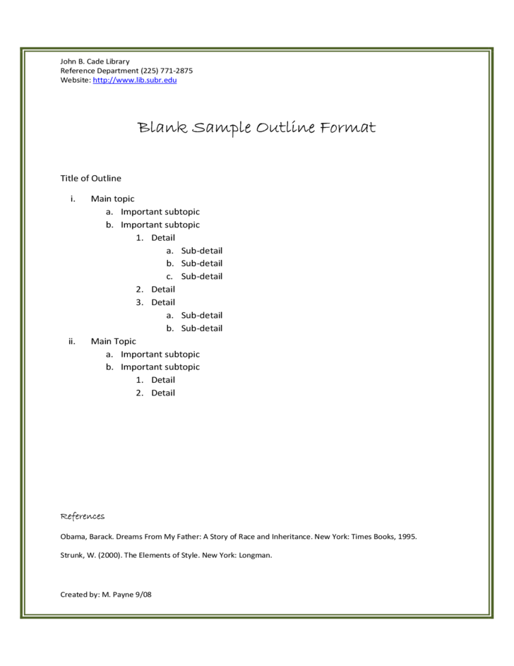 Sample Outline Format Free Download