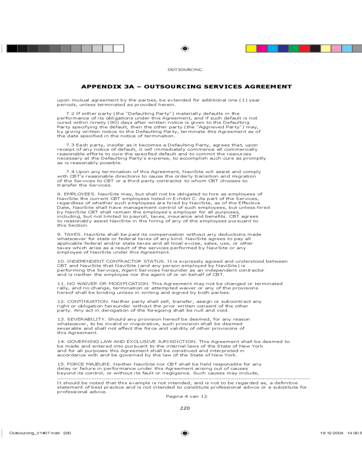 It Outsourcing It Outsourcing Agreement