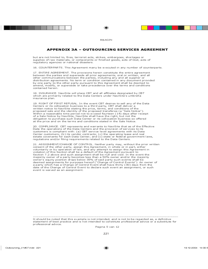 Checklist for outsourcing agreement