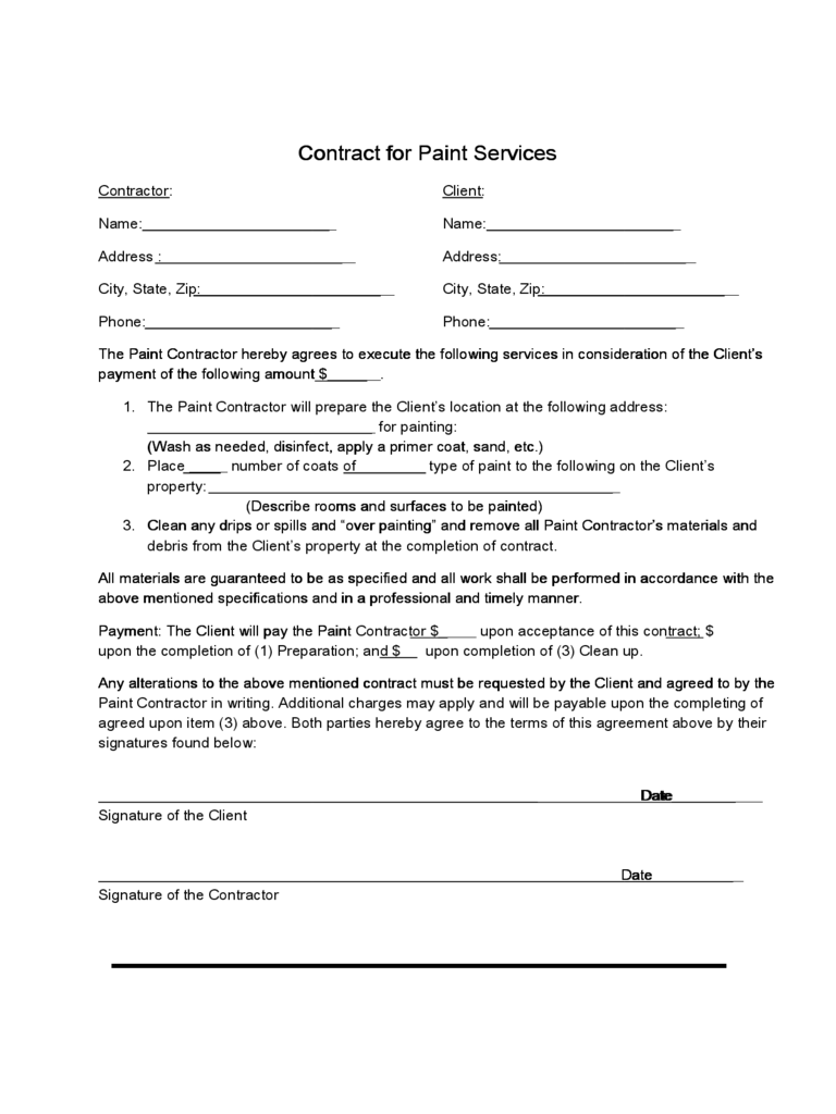 painting contract template 2 free templates in pdf word