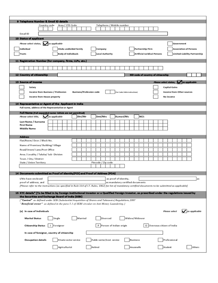 Application Form for Allotment of PAN