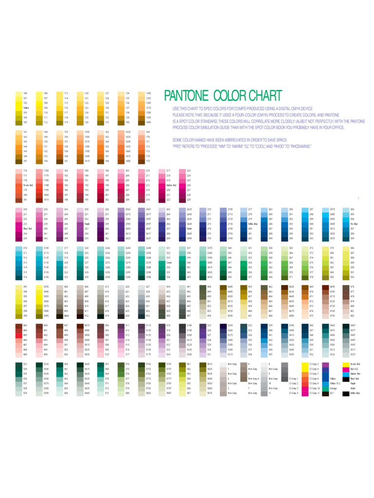 Pantone Color Chart Template - 5 Free Templates in PDF, Word, Excel ...