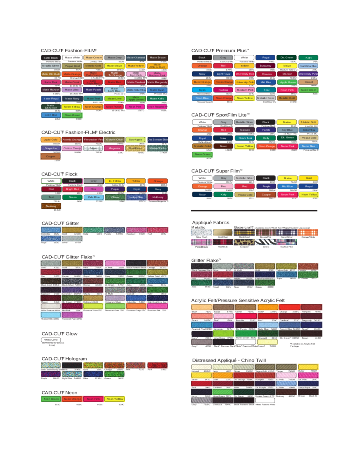 Sample PMS Color Charts