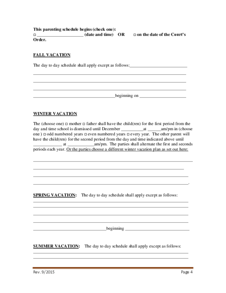 Consent Parenting Plan Form Georgia Free Download