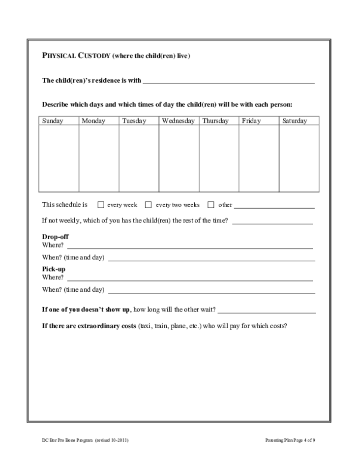 Parenting Plan Form - District of Columbia