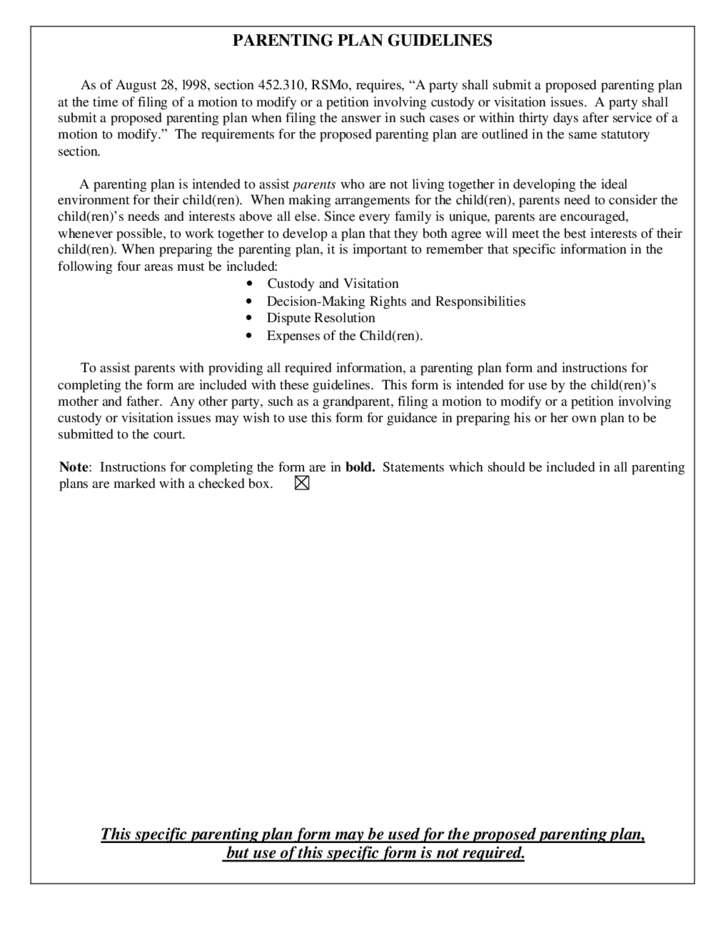 Parenting Plan And Guidelines Missouri Free Download