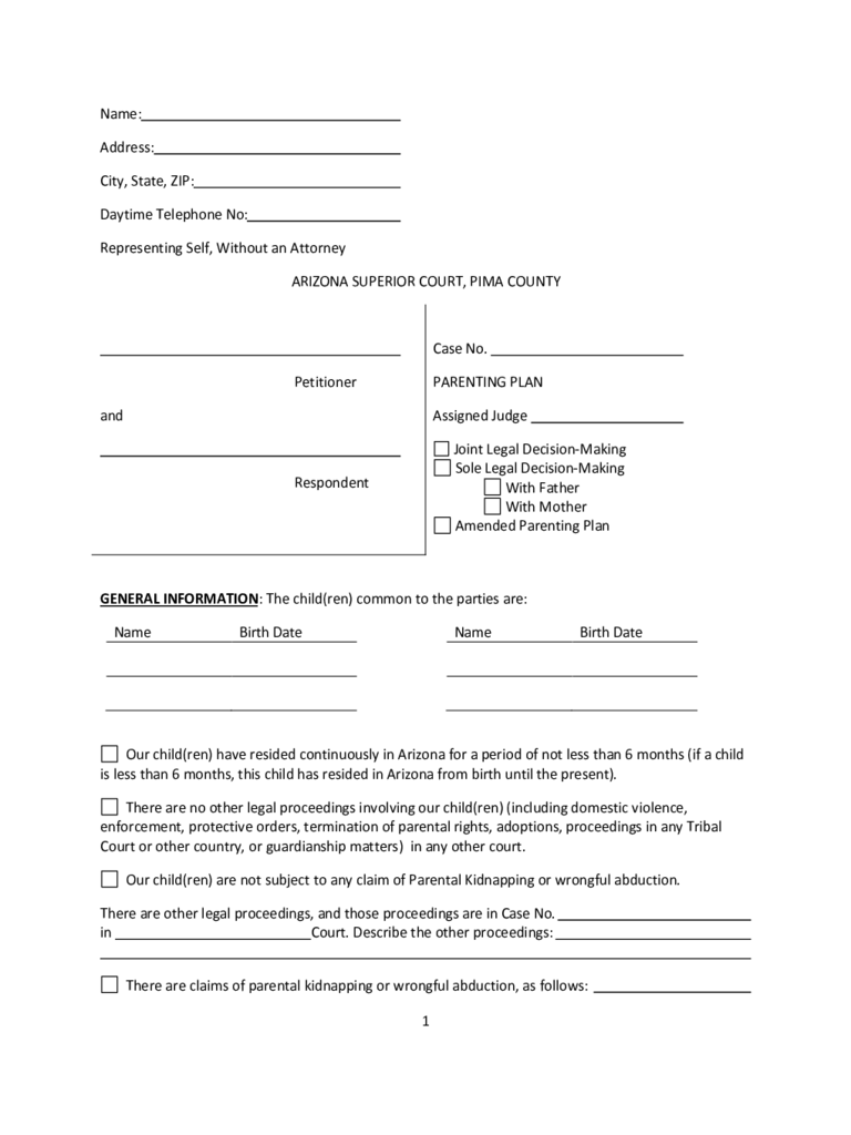 Parenting plan form 57 free templates in pdf word excel download parenting plan arizona robcynllc Images