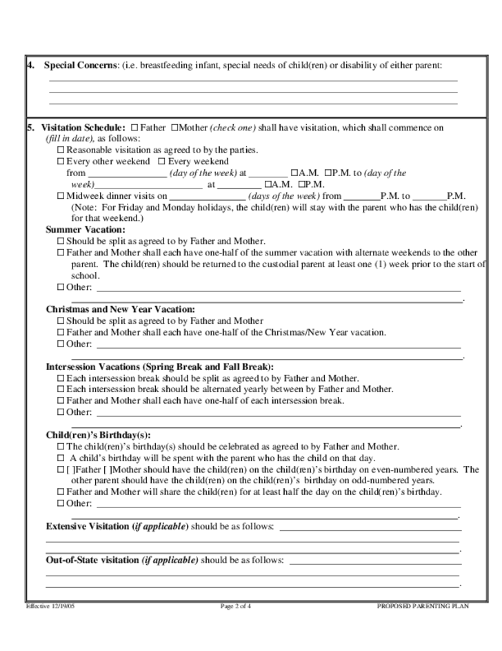 Proposed Parenting Plan Form - Hawaii
