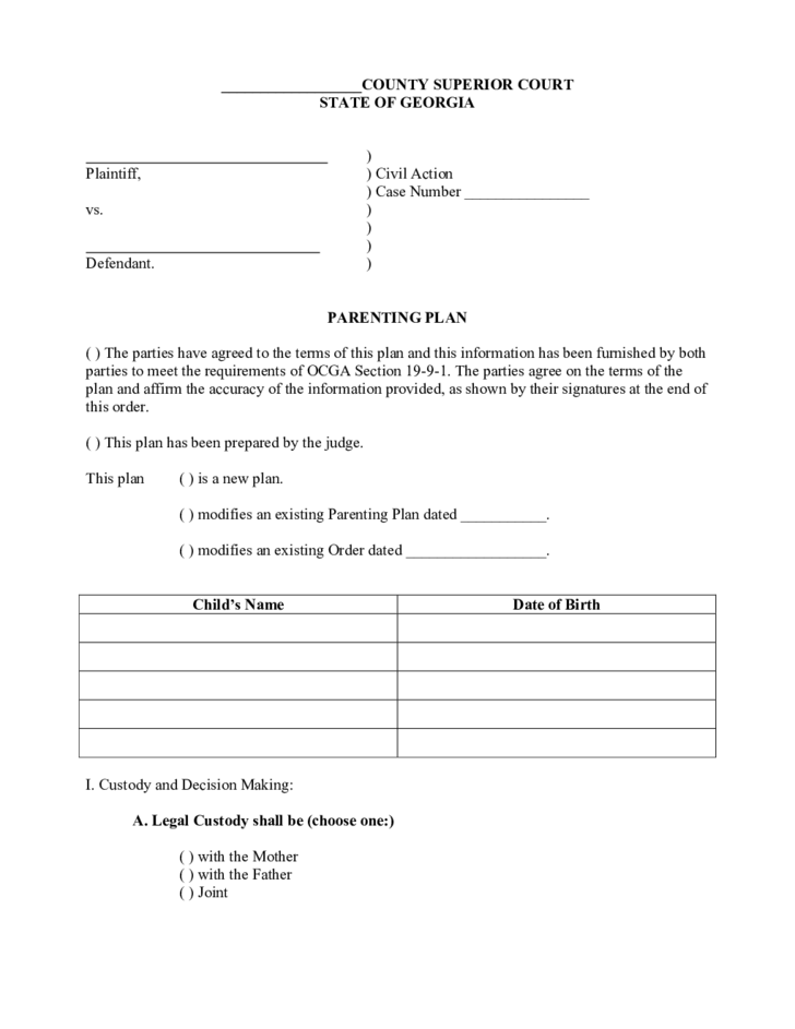 joint custody parenting plan template - sample parenting plan georgia free download