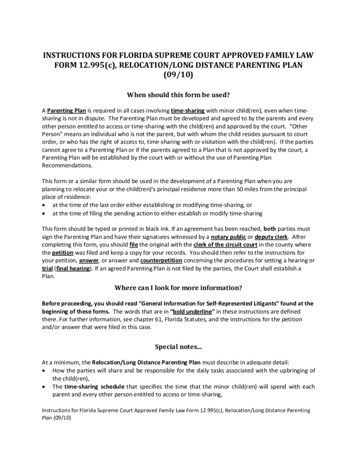 Parenting plan examples latest parenting plan template for Long distance parenting plan template