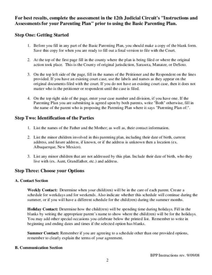 Basic Parenting Plan and Instructions - Florida