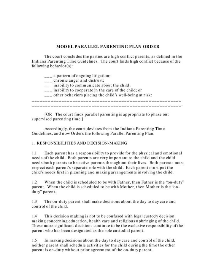 Model Parallel Parenting Plan Order - Indiana
