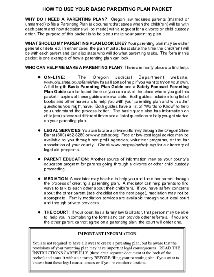basic parenting plan packet for parents