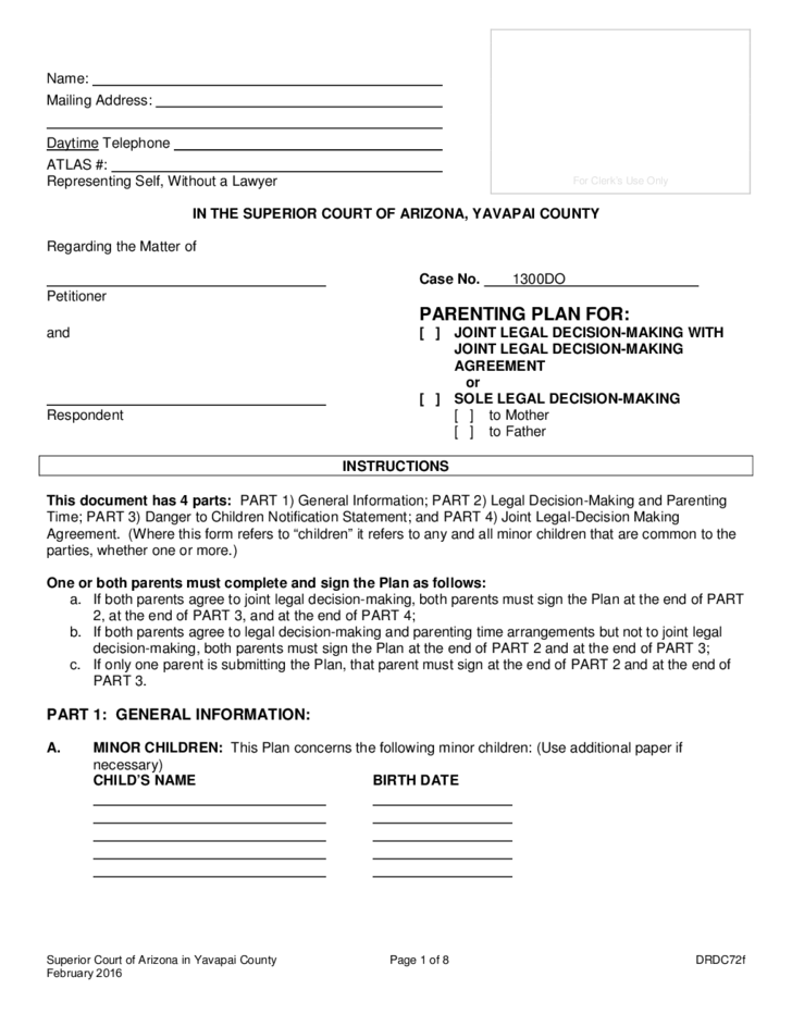 Free Parenting Plan Template from www.formsbirds.com