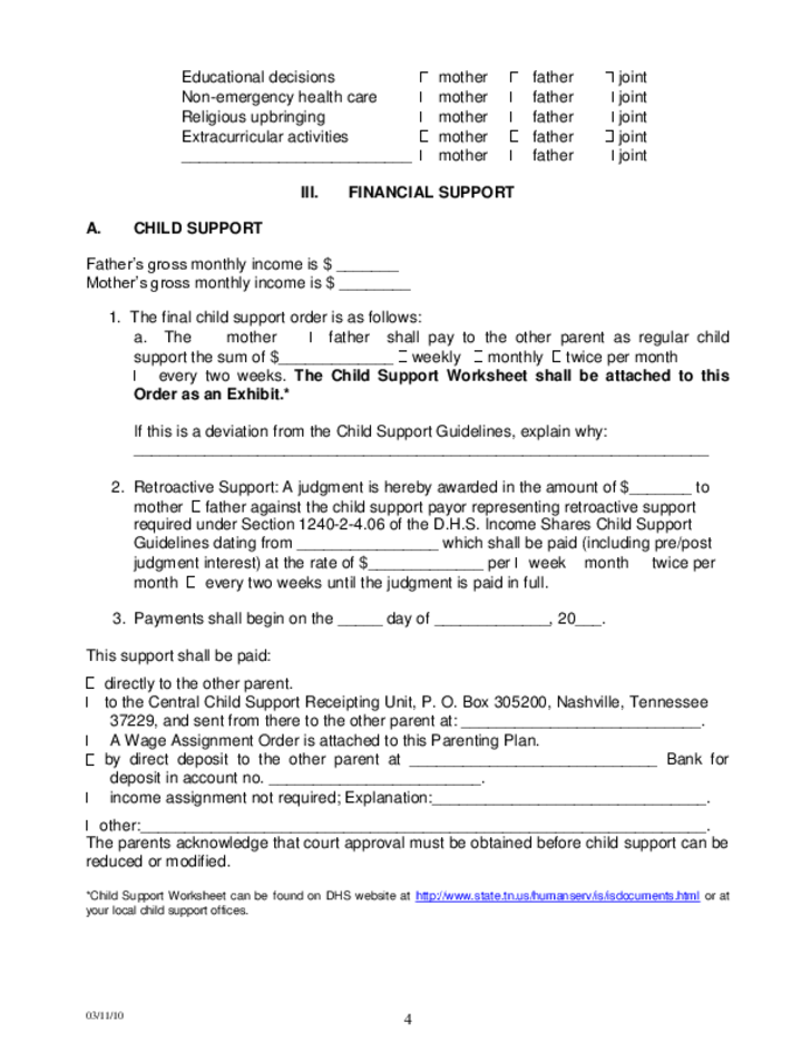 Sample Permanent Parenting Plan Order - Tennessee