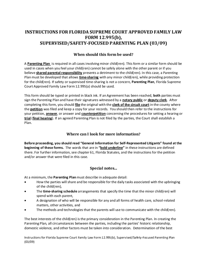 Supervised or Safety Focused Parenting Plan - Florida