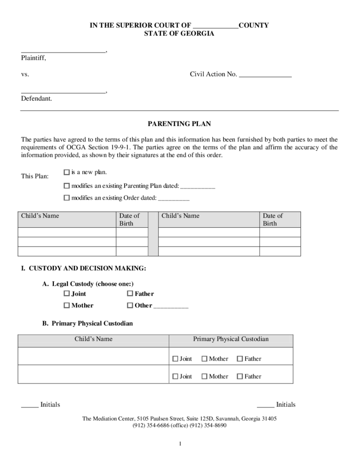 Parenting plan example for Long distance parenting plan template
