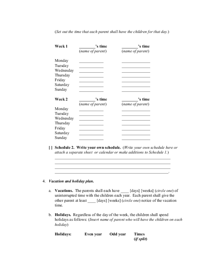 Custody Plan and Order - New Mexico