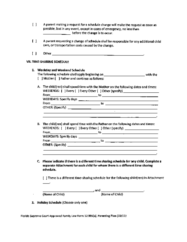 Sample Parenting Plan Template - Florida