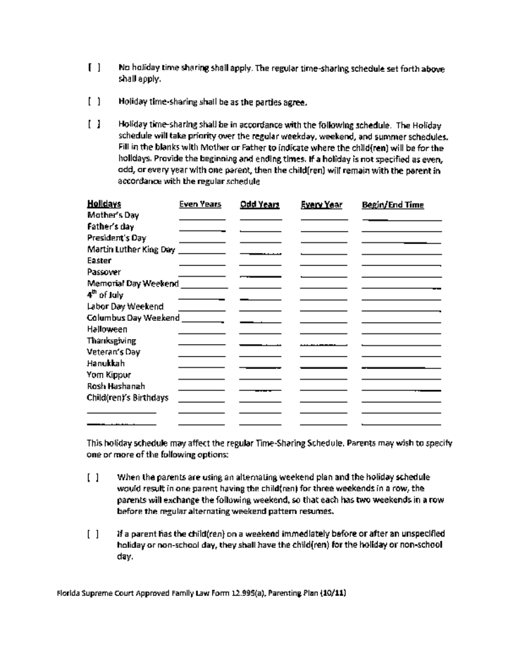 Parenting plan templates free 5 parenting plans template for Long distance parenting plan template