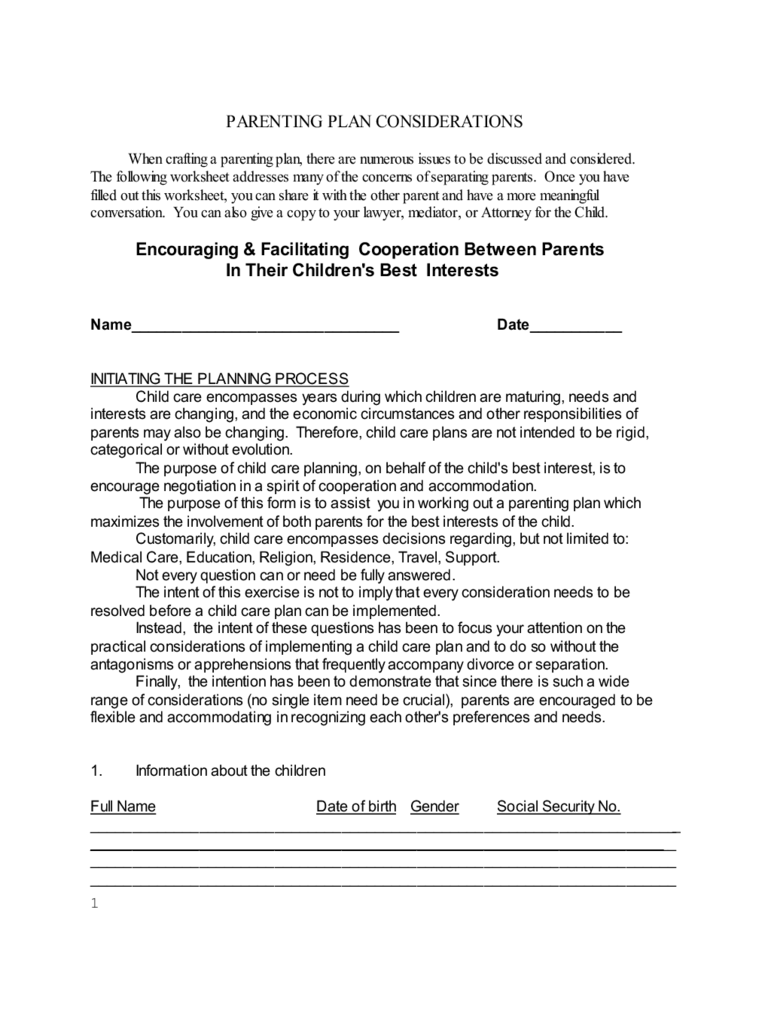 Parenting Plan Worksheet - New York