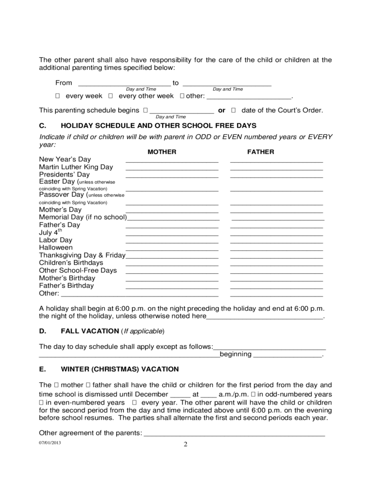 Permanent Parenting Plan Order - Tennessee
