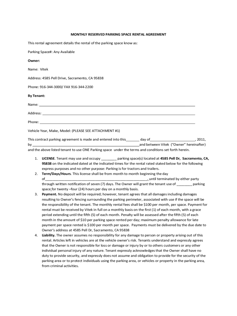 parking agreement form