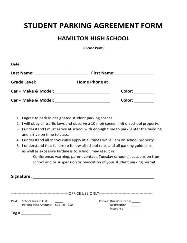 Student Parking Agreement Form Free Download