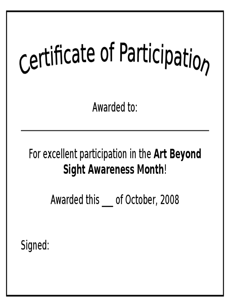 Simple Participation Certificate Template  Free Certificate Of Participation Template