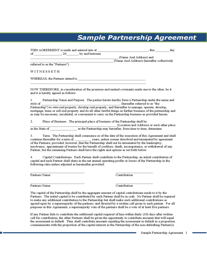 Sample Partnership Agreement - Pennsylvania Free Download