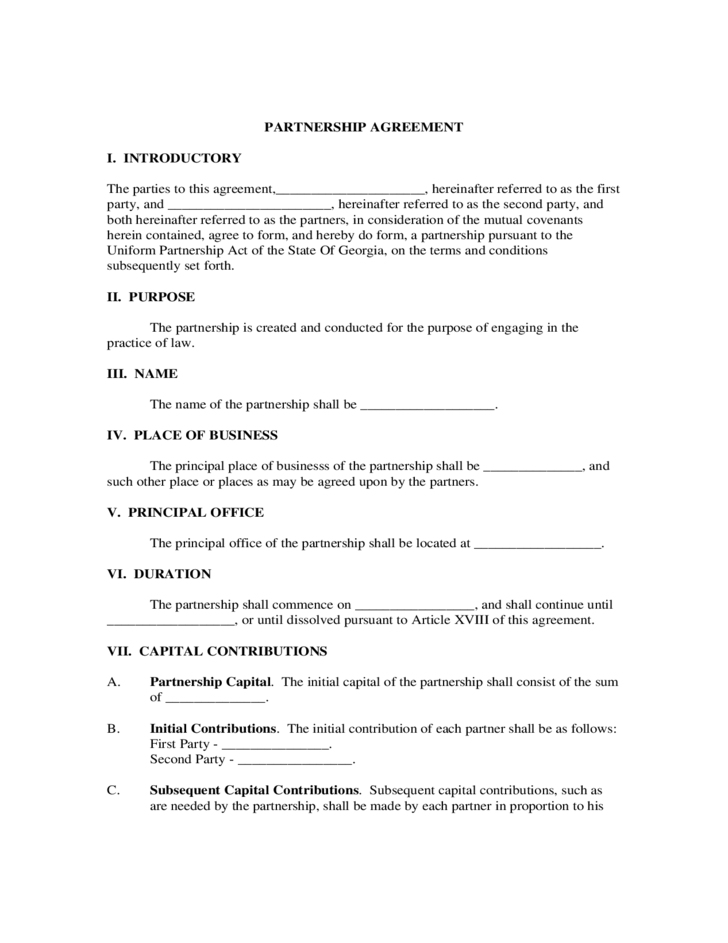 Partnership agreement form partnership agreement form for Rto partnership agreement template