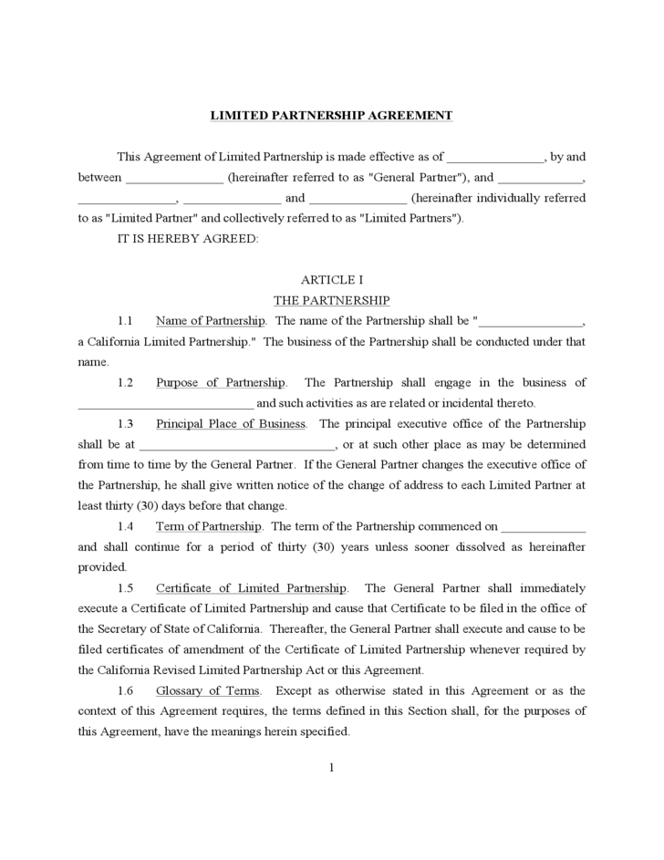 Limited Partnership Agreement Free Download