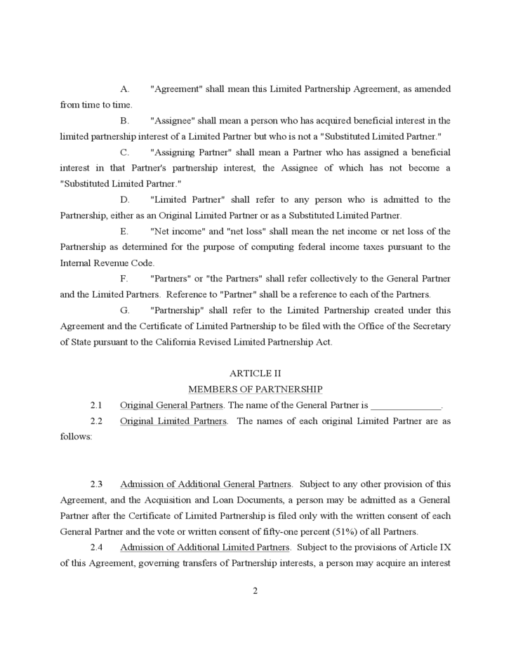Free Partnership Agreement Form Create An Amendment To A Limited